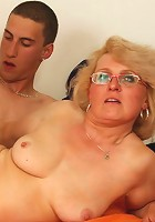 She walks in on him fucking her mother and she sees cock thrusting into tight old but hot pussy