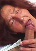 Grandma is happy to get on his cock and go for a ride so he can fill her naughty pussy