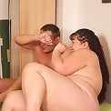 Her son in law hurts his back and the mature fatty helps him out with a great fuck