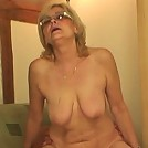 Pumping into hot granny hole with his hard young cock before cumming on her
