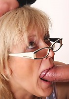 Young dick in the mature hole and the granny looks happy to have him inside her