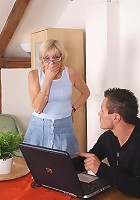 He finds porn on the granny's computer and the two of them end up having great sex