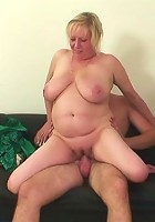 She smokes a cigarette, sucks his cock, and gets fucked in her dripping wet old pussy