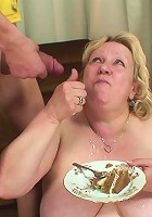 His mother in law makes him a birthday cake and lets him fuck her pussy as a present