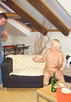 His dick is slamming that mature pussy and it feels hot and warm in that hole