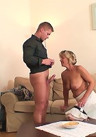 Cocksucking mature beauty gets him hard and gets him inside her ancient pussy hole