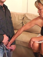 Her sexy old body convinces him to get naked and feed his dick to her naughty holes