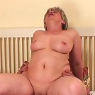 She sucks him awake and her blowjob makes him badly want her old pussy
