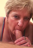 The ancient pussy needs cock and the mature slut is willing to do whatever it takes