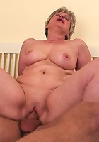 She awakens her son in law with a blowjob and then the mature wants a fuck