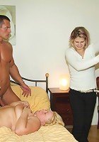 He sees the old slut masturbating and he needs to fuck her pussy with his big cock meat
