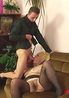 Her steamy old pussy is going to be filled by his young cock when she gets on top and rides