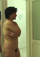 When his old mother in law steps from the shower he has to have her saggy and flabby body