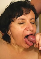 His wife walks in on him boning his mother in law and shooting cum on her pretty face