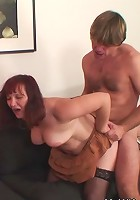 Mature chick is fucked by her son in law while her daughter watches and loves it