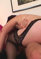 The mature hole is licked and then fucked hard by his throbbing young cock meat