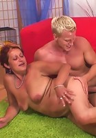 The young blonde guy has a hard body and loves to fuck a granny slut like this one so hard