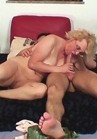 His mature lover is blonde and sexy in her glasses and he fucks her with great lust and passion