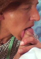 He loves being up inside her old granny pussy and she loves having his rock hard cock there