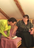 The sultry, fat granny babe in glasses gets him to pound her pussy and he takes it hard
