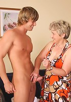 The perfectly shaved grandmother pussy looks amazing when he fucks his young cock in there