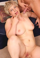 The granny babe receives his load and the sticky substance feels good dripping off her