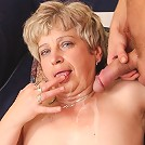 The granny pussy is wet and tight and his big cock fucks her fantastically to make her cum