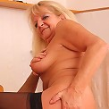 The old babe likes all the positions but sitting on a stiff young cock is her favorite