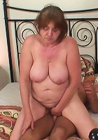 The hot sex shows a beautiful granny slut getting pounded hard by his long, rock hard schlong