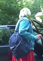 Young man picks up the hitchhiking granny and tags her pussy with his throbbing cock