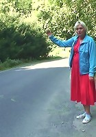 Granny picked up hitchhiking and he gets to fuck her naughty pussy outdoors as payment