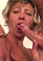 He undresses the granny slut that's cleaning his house and he fills her hot hole with his cock