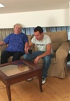 She is old and fat but she can still bounce when it comes time to get fucked by young cock