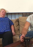 The chubby granny with the wet pussy is letting the young man do her all over