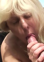 Mature and her young lover are outdoors and she is riding him and blowing him and more