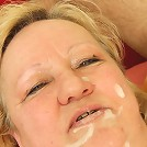 The mature slut licks ketchup off his cock and lets him fuck her dripping wet hole