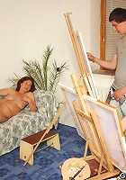 They each do a painting of her naked body but they absolutely have to fuck the hottie