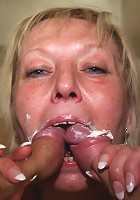 Granny slut on her hands and knees with a dick in her mouth and her old pussy