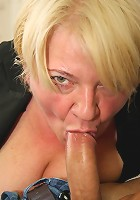 The two horny young men make sweet threesome love to this granny and she loves it