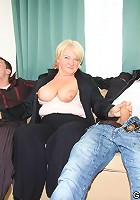 Two guys and their granny lover have a threesome and she enjoys all the hard cock