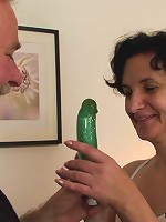 Mature brunette is horny to play with the two dicks she gets on her birthday