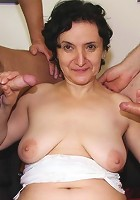 She proves to be a great slut in the hardcore mature threesome with old and young guy