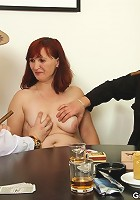 The mature redhead craves these two and they make sure she goes home from poker happy