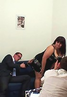 Both the guys give the older babe a good hard fucking and they make her into a moaning whore