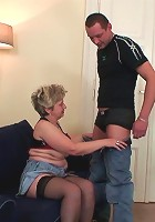 Granny has two dicks fucking her body and they make nice fat cum loads on her face
