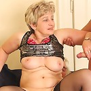 Her husband and her young lover join forces to tag team the horny granny slut hard