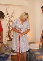 Chubby granny is cleaning the apartment and the young men are fucking her hard