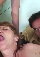 The two guys take turns being inside this mature mouth and wet pussy hole