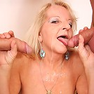 Partying guys are seduced by the slutty granny and they nail her pussy hard