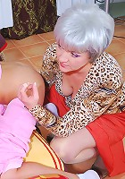 Spanked girl pleasures a mature dyke